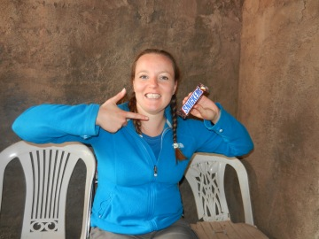 Carol and her long awaited Snickers bar