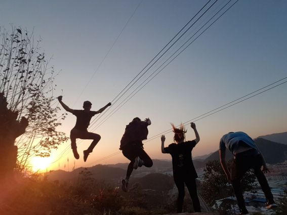 Jumping sunset
